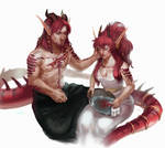 Dragon Twins [COMM] by HumelenVaen