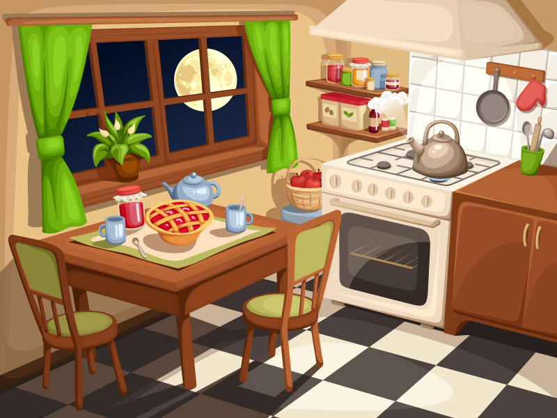 Evening tea by naddiya on deviantart for Kitchen room cartoon images