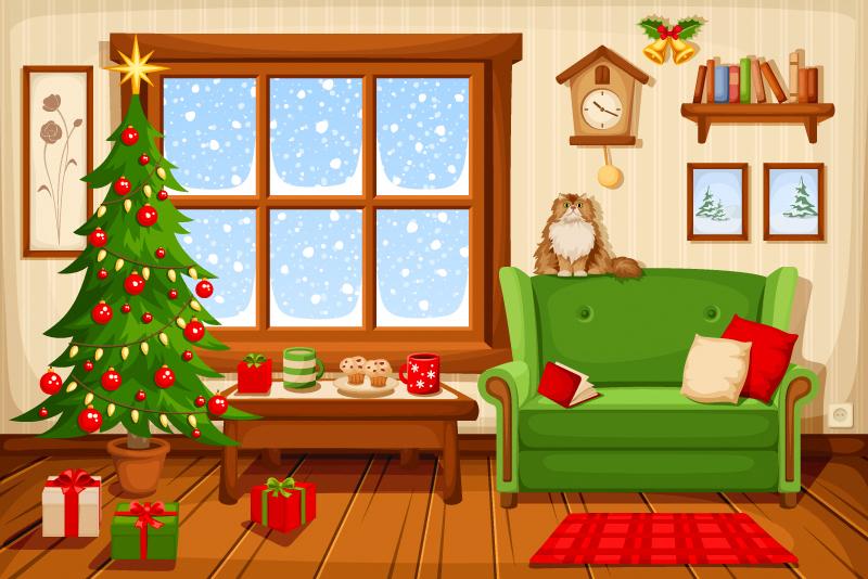 Christmas living room by Naddiya