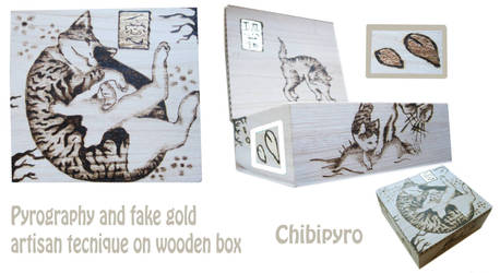 Wooden box cat pyrography and fake gold by ChibiPyro