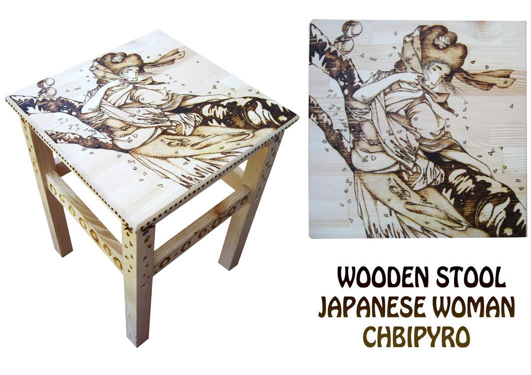 Geisha wooden stool by ChibiPyro