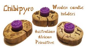 Wooden candle holder Australian African Primitive