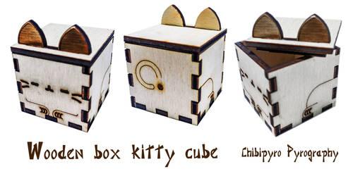 Wooden box cube kitty