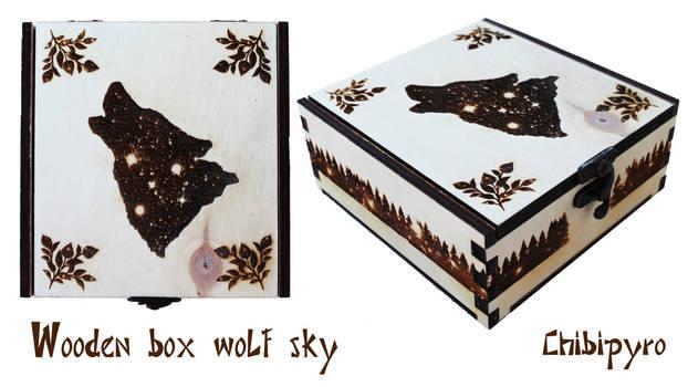 Wooden box wolf sky