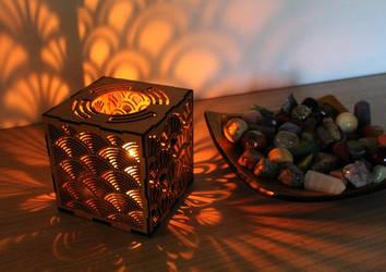 Hardboard Lantern Japanese Pattern by Moonyzier