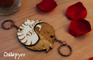 Wooden Keychain Cat And Wolf