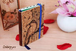 Refiliable cork notebook bird by ChibiPyro