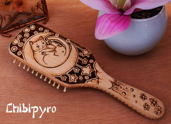 Wooden Hairbrush Cat On Moon by ChibiPyro