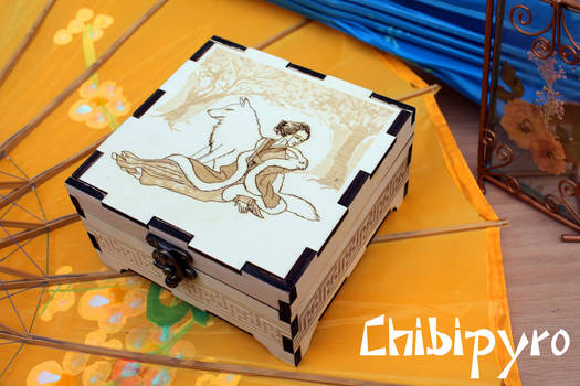 Wooden Box Girl And Wolf by ChibiPyro