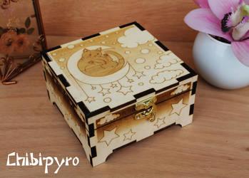 Wooden Box Moon Cat