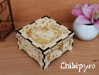 Wooden sleeping cat box by ChibiPyro