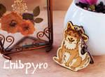 Wooden custom dog keychain by ChibiPyro
