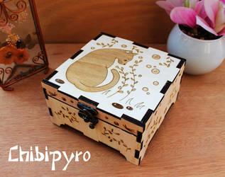 Wooden box black cat by ChibiPyro