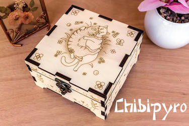Hugging Cats Wooden Box by ChibiPyro