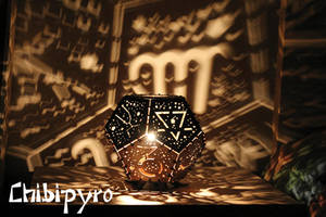 Dodecahedron lamp with earth signs by ChibiPyro
