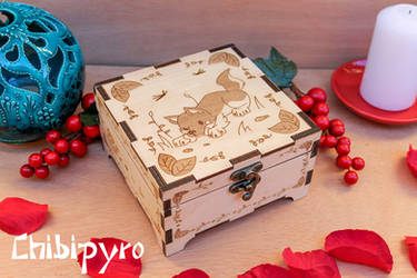 wolf dog cub engraved wooden box by ChibiPyro