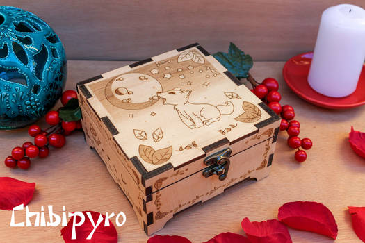 howling wolf cub engraved wooden box