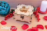 red panda and bamboo leaves engraved wooden box by Moonyzier