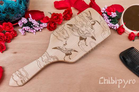 Japanese crane pattern wooden hairbrush by ChibiPyro