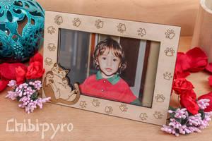 Sleepy cat wooden photo frame by ChibiPyro