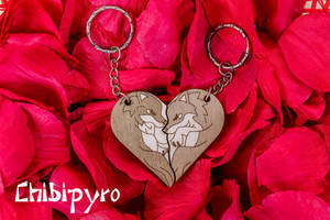 Wolves heart shaped Keychains