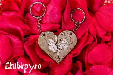 Wolves heart shaped Keychains by ChibiPyro