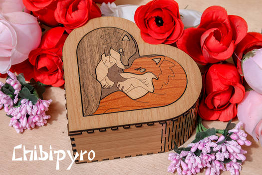 Heart Box  Wolves marquetry