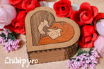 Heart Box  Wolves marquetry by ChibiPyro