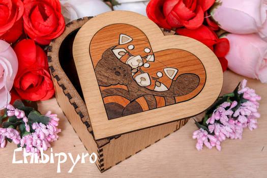 Heart Box  Red Pandas marquetry