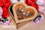 Heart Box  Red Pandas marquetry
