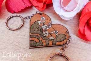 red pandas couple heart charms