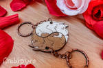 Wolves couple Yin Yang charms