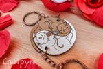 Yin yang cats couple keychains
