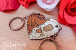 Cats couple wooden charms