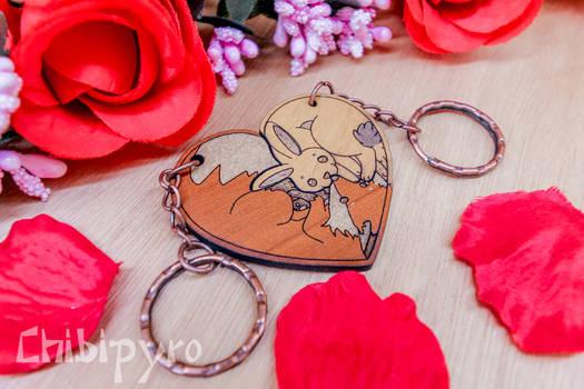 Heart Keychain Bunny and Fox