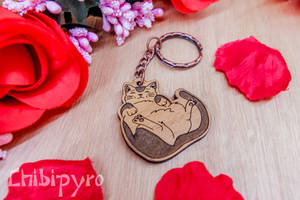 Lazy cat wooden charm
