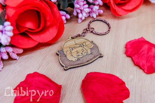 Lazy cat on pillow wooden charm
