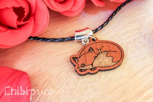 Tiny fox wooden charm