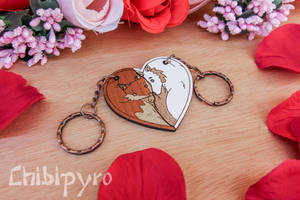 Fox and wolf couple charms