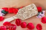 Chihiro and Mononoke wooden hairbrush [commission] by ChibiPyro