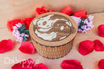 Koi fishes yin yang wooden box with marquetry