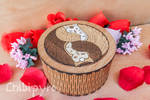 Owls yin yang wooden box with marquetry