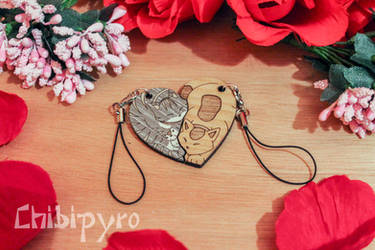 Cat couple wooden charms
