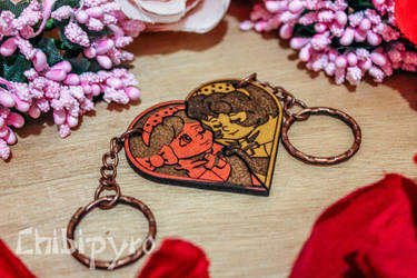 Remedy and Frallan wooden keychains by ChibiPyro