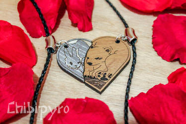 Bunny and Bear couple necklace by ChibiPyro