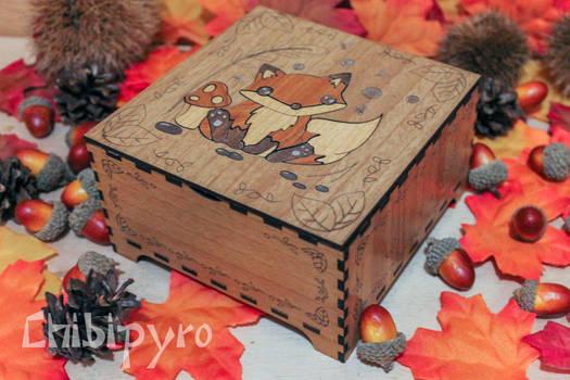 new sitting fox wooden box