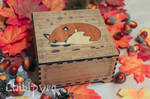 fox wooden maquetry box by Moonyzier