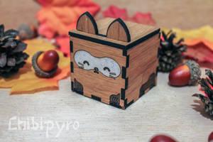 Raccon small wooden party favor box