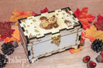 Red panda and bamboo leaves wooden box