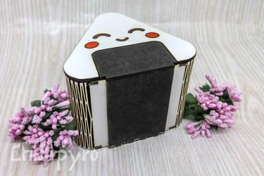 Onigiri wooden box by ChibiPyro